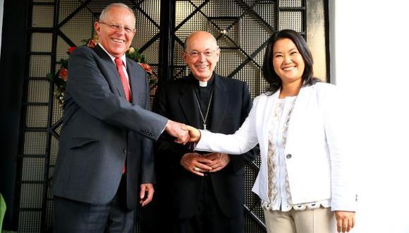 El diálogo entre PPk y Keiko Fujimori tuvo como mediador al cardenal Juan Luis Cipriani. (Foto: Presidencia de la República)