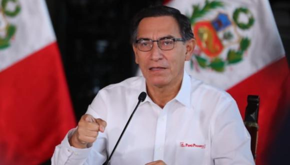 El presidente de Perú, Martín Vizcarra, realizó su conferencia de prensa habitual desde Palacio de Gobierno para revelar la situación del coronavirus en el país. (Foto: Presidencia Perú)