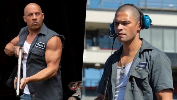 """(Izquierda) Vin Diesel en una escena de """"F9"""" (Derecha) Vinnie Bennett interpretando al joven Dom en la misma cinta."""