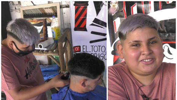 Con solo 13 años, Rodrigo Fernández abrió su propia barbería en la ciudad de Santa Fe, Argentina. (Foto: Captura El Litoral)