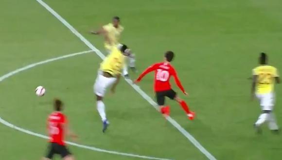Yerry Mina se lesiona durante el Colombia vs. Corea del Sur. (Captura: Caracol)