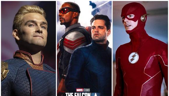 """""""The Boys"""", """"The Falcon and the Winter Soldier"""" y """"The Flash"""" son solo algunas de las series de superhéroes que se estrenarán este 2021. (Foto: Prime Video/Disney+/The CW)"""