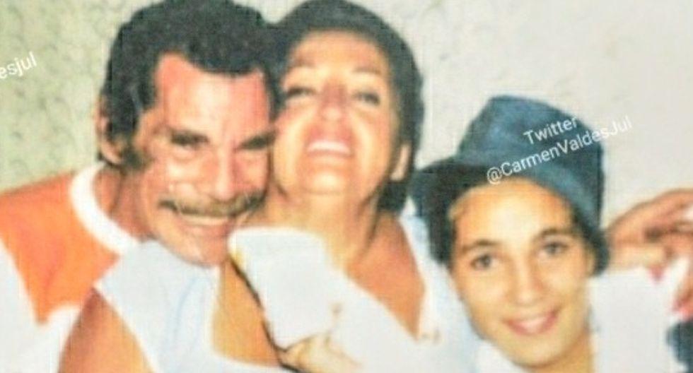 Esta es la inédita foto de Ramón Valdés con sus hijas que está siendo viral en Twitter y redes sociales. (Foto: Carmen Valdés)