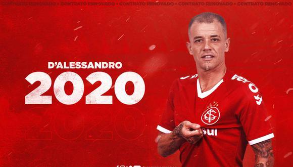 Andrés D'Alessandro renovó con Internacional por todo el 2020. (Foto: @SCInternacional)