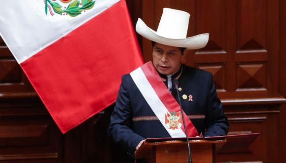 """""""El presidente Castillo, en su discurso de toma de mando del 28 de julio, esbozó una mirada de 'nuestra historia en este territorio' de 5.000 años"""". (Foto: Congreso)."""