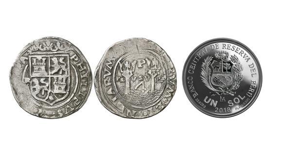 """A la izquierda, las monedas de plata acuñadas hace 450 años en la Casa de Moneda de Lima conocidas como """"Rincones"""". A la derecha, el anverso de la moneda conmemorativa que lanzó el BCR."""