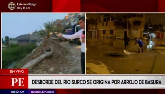 Esta madrugada, el desborde del río Surco afecta a vecinos de Chorrillos (Captura: América Noticias)
