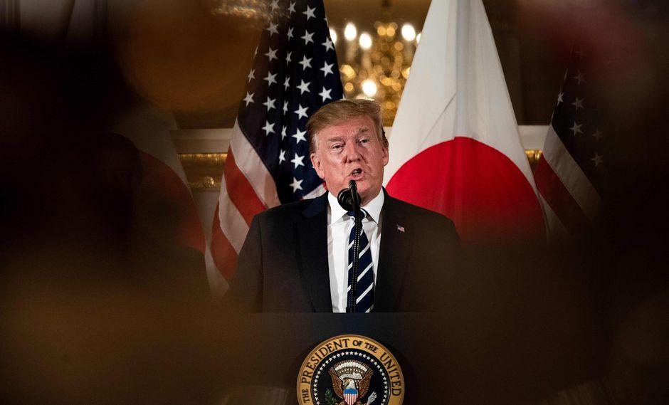 El presidente de los Estados Unidos, Donald Trump, habla durante una reunión con líderes empresariales en Tokio el 25 de mayo de 2019. Foto: AFP