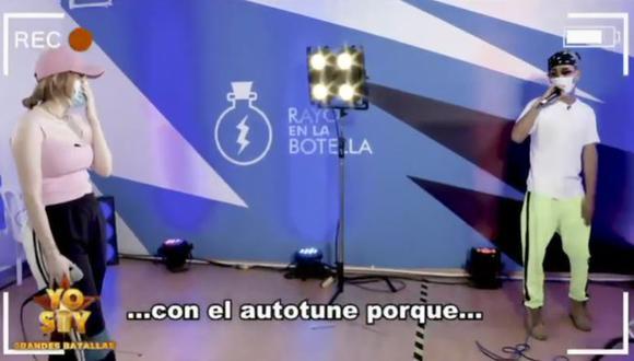 """""""Yo Soy"""": Ania y el imitador de Bad Bunny discuten por el uso del Auto-Tune. (Foto: captura de video)"""
