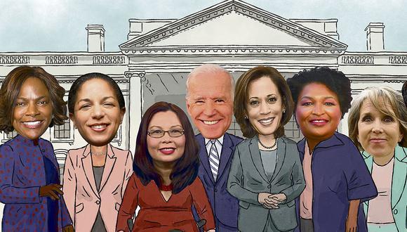 Entre estas mujeres podría estar la próxima candidata a la vicepresidencia del Partido Demócrata. De izquierda a derecha: Val Demings, Susan Rice, Tammy Duckworth, Kamala Harris, Stacey Abrams y Michelle Lujan Grisham. (Fotoilustración: Víctor Aguilar)