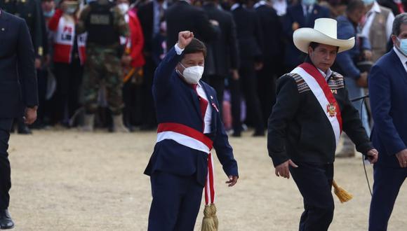 En una ceremonia especial en Ayacucho, Guido Bellido juró este 29 de julio como presidente del Consejo de Ministros (Foto: Alessandro Currarino/El Comercio)