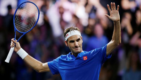 Tennis - Laver Cup - Geneva, Switzerland - September 21, 2019  Team Europe's Roger Federer celebrates winning his singles match against Team World's Nick Kyrgios REUTERS/Pierre Albouy