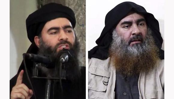 El califa en una imagen del 2014 (izquierda) y en la divulgada cinco años después. (AFP).