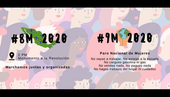 La propuesta creada por colectivos feministas busca que las mujeres no realicen ninguna actividad el 9 de marzo. (Foto: Facebook @MareaVerdeMx).