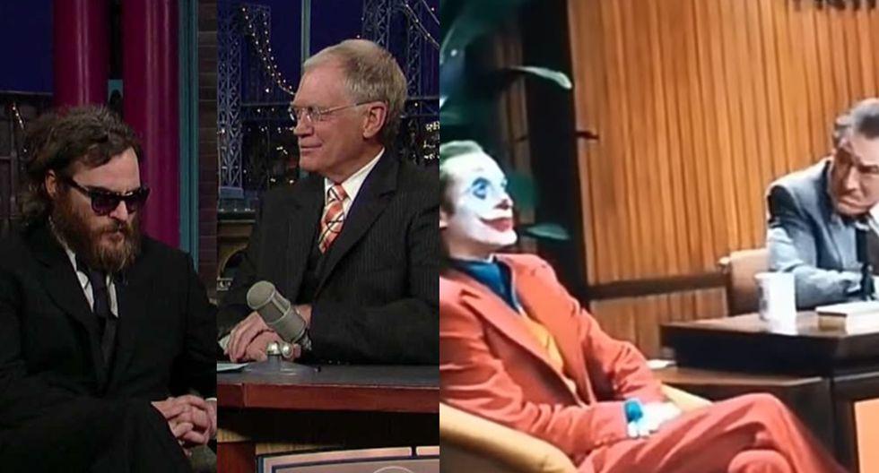 (Izquierda) Joaquin Phoenix y David Letterman en 2009, durante la comentada entrevista de ese año. (Derecha) La comentada escena del Joker, con Robert de Niro.