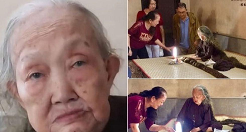 La anciana de 83 años reveló el motivo por el cual no se lava ni corta el cabello desde que tenía 19 años.   Foto: Tinmoi.vn (Desliza hacia la izquierda para ver más imágenes).