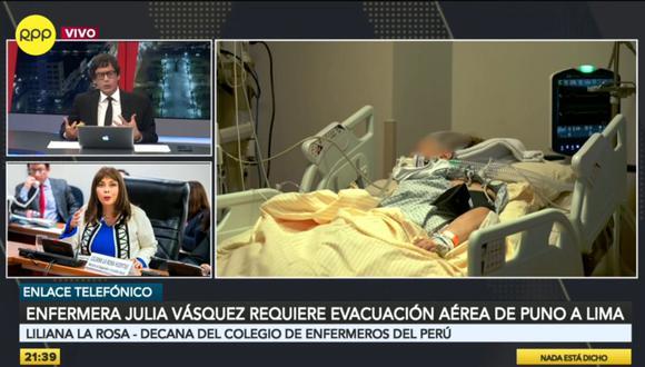 Liliana La Rosa sostuvo que la situación es alarmante debido a que tiene colegas que necesitan ser trasladadas a otros hospitales y otras necesitan ventilación mecánica; sin embargo, todos los nosocomios están colapsados. (Foto: Captura RPP)