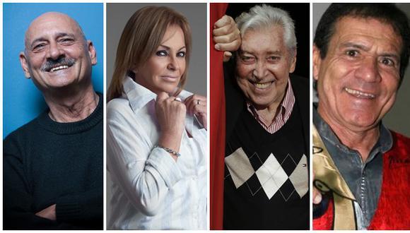 Actores Gustavo Bueno, Ana María Jordán, Osvaldo Cattone y Miguel Barraza. (Fotos: archivo El Comercio / USI / Difusión)