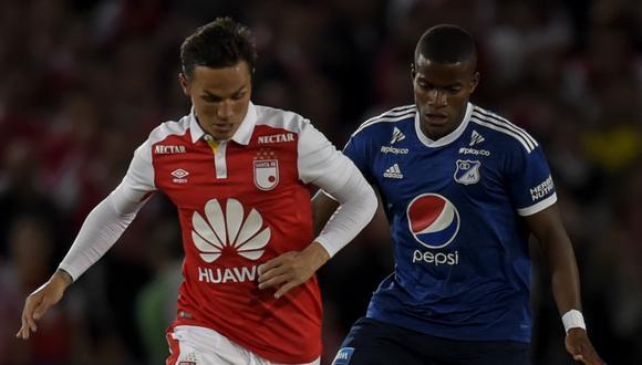 En un encuentro entretenido y bastante luchado, Independiente Santa Fe empató a cero ante Millonarios, por el duelo de ida de los octavos de final de la Copa Sudamericana. (Foto: AFP)