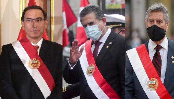 En un mes, el Perú ha tenido tres presidentes de la República en ejercicio, una situación que se dio paso con la vacancia de Martín Vizcarra. (Fotos: GEC)