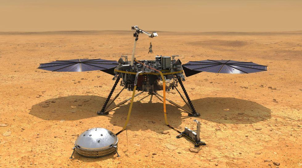 Animación de cómo se vería el Mars InSight sobre Marte. (Foto: EFE)