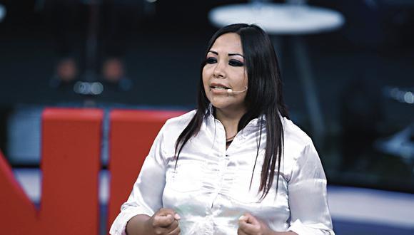 Parlamentaria Cecilia García (Podemos Perú) arremetió contra la presidenta del Congreso, Mirtha Vásquez, durante la sesión del pleno mujer (Foto: JNE)