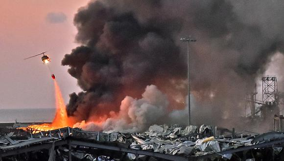 """Líbano   """"La explosión en Beirut se sintió como un terremoto, una inmensa nube de polvo amarillo recorría la calle"""", asegura Ben Wedeman, periodista de CNN. Foto: AFP / STR"""