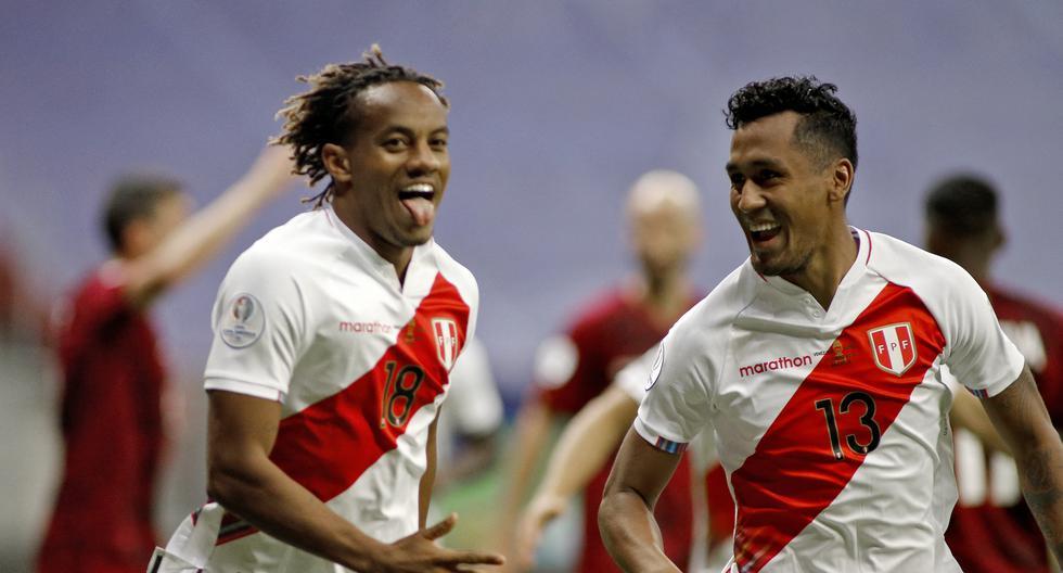 Buena parte del potencial ofensivo de Perú pasa por los pies de André Carrillo al encarar rivales, mientras que Renato Tapia aporta equilibrio, salida limpia y cortes precisos. (Foto: SILVIO AVILA / AFP)