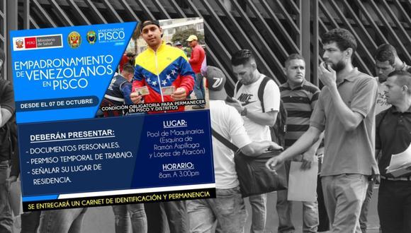 Municipalidad de Pisco anunció que realizará un empadronamiento de ciudadanos venezolanos. Se trata de una medida obligatoria para residir en esta ciudad. (Foto: GEC / Facebook)