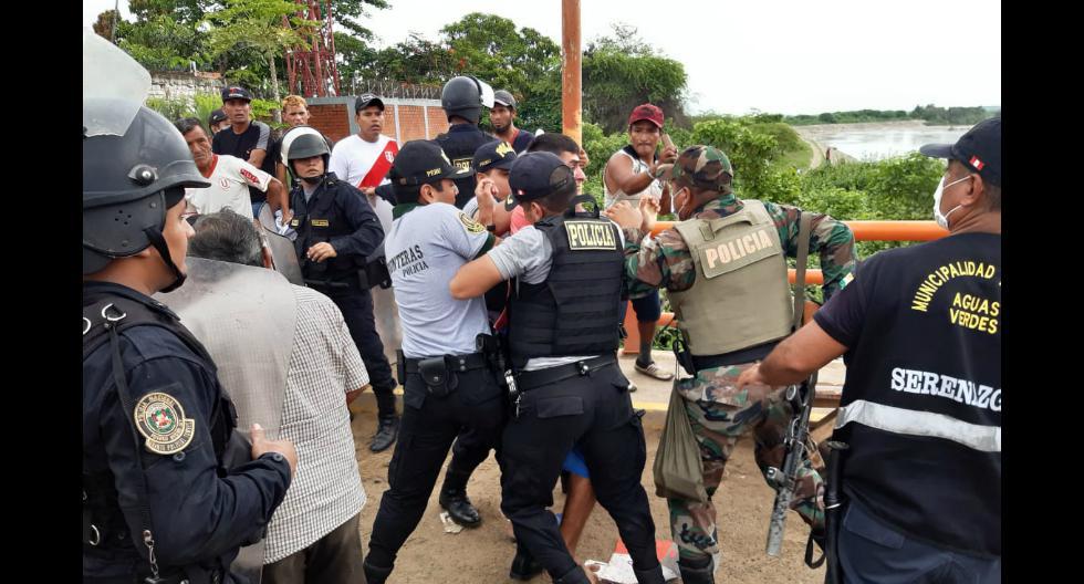 Tumbes: Comerciantes se enfrentan a la policía y se resisten a regresar a sus casas (Foto: Luigi Vignolo)