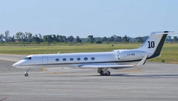 El avión privado de Messi, un Gulftream V del año 2004. (Foto: Clarín)