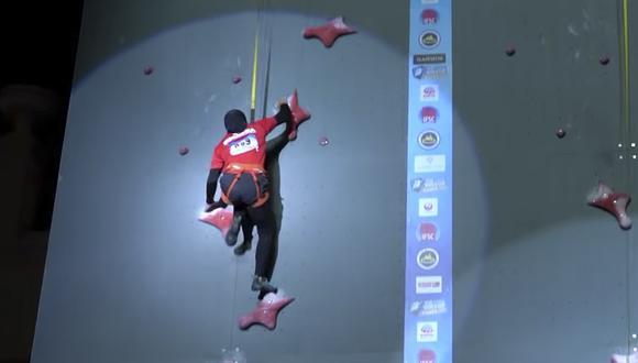 Aries Susanti bate el récord de escalada de 15 metros con un tiempo de 6.995 segundos. (YouTube)