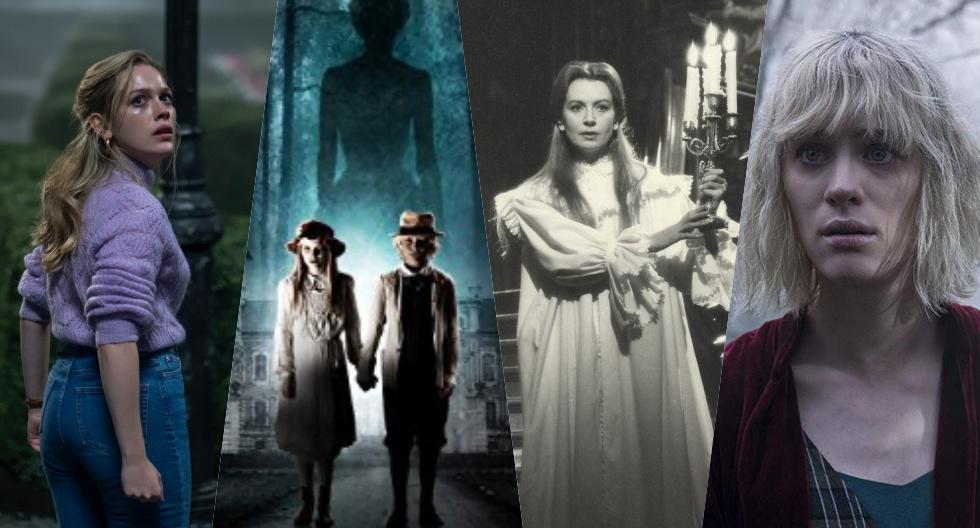 """De izquierda a derecha: Victoria Pedretti en una escena de """"La maldición de Bly Manor"""" (2020), el afiche de """"Ghost Story: The Turn of the Screw """"de 2009, Deborah Kerr en """"The Innocents"""" de 1961 y Mackenzie Davis en """"Otra vuelta de tuerca"""" de 2020."""