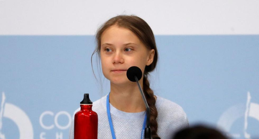 """La activista sueca Greta Thunberg durante su participación este lunes en una rueda de prensa de jóvenes activistas climáticos, en la XXV Cumbre de la Convención de Cambio Climático de Naciones Unidas (COP25) que se celebra en Madrid bajo el lema """"Tiempo de actuar"""". (EFE)"""