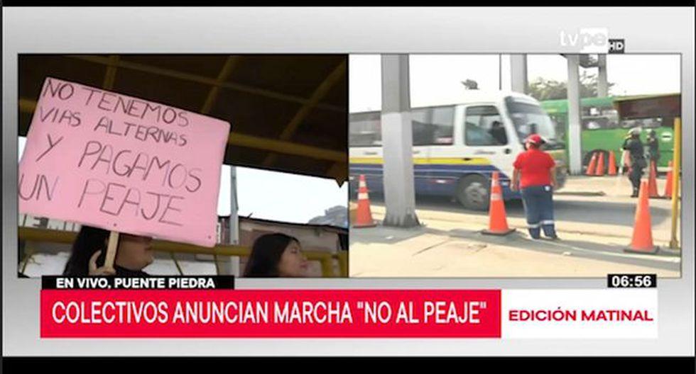 La movilización ocurre a la altura del kilómetro 25 de la Panamericana Norte, por la zona de Shangrilá. (Captura: TV Perú)