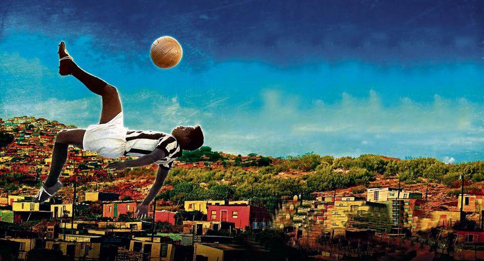 "Afiche intervenido de ""Pelé eterno"" (2004), un documental brasilero dirigido por Anibal Massaini Neto."