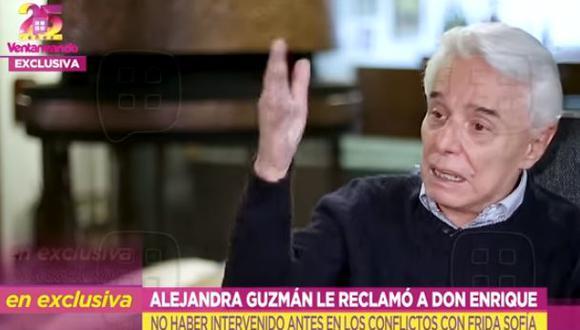 Enrique Guzmán dice que para él y para Alejandra, Frida Sofía está muerta. (Foto: captura de video)