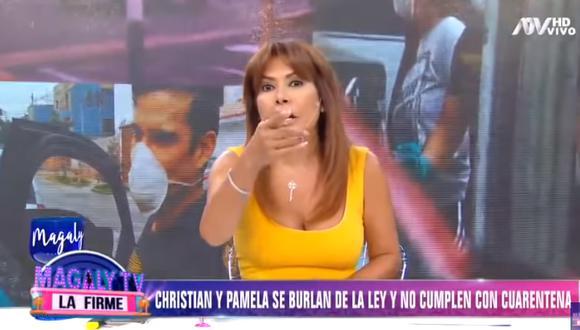 Magaly Medina crítica a Christian Domínguez y Pamela Franco tras ser captados incumpliendo cuarentena  (Foto: captura)