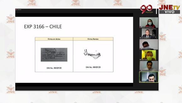 Los abogados que pidieron la nulidad de las mesas dijeron que habían firmas falsificadas en las actas   Foto: Captura de video / JNE