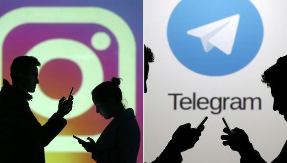 En la foto se aprecia una composición de imágenes de los logos de las aplicaciones de Telegram e Instagram. (Reuters).