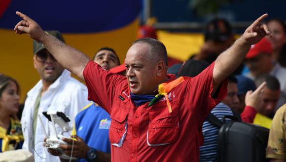 """Diosdado Cabello convocó este lunes a """"una gran marcha"""" para el próximo jueves en Caracas de """"carácter cívico-militar"""" en respuesta a otra convocada por el líder opositor Juan Guaidó. (AFP)"""