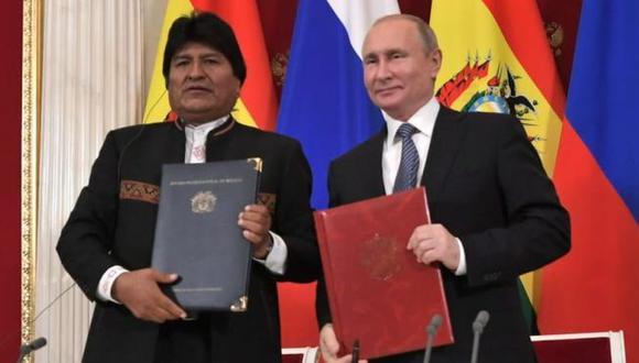 Evo Morales visitó a Vladimir Putin en Moscú. Foto: ABI, via BBC Mundo