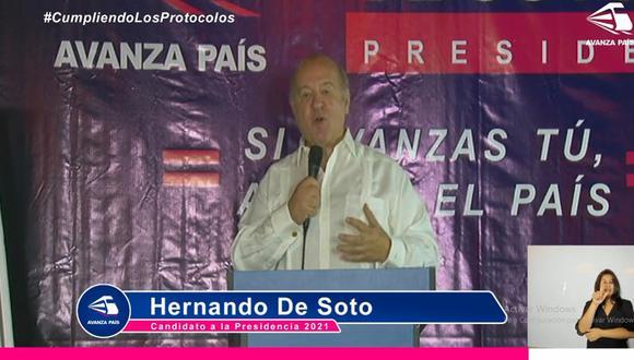 Hernando de Soto inició su campaña electoral con un mitin virtual. (Facebook)