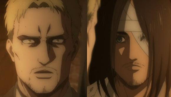 """""""Attack on Titan"""" 4x05. Reiner Braun y Eren Jaeger en la conversación más tensa de toda la serie. Foto: Crunchyroll."""