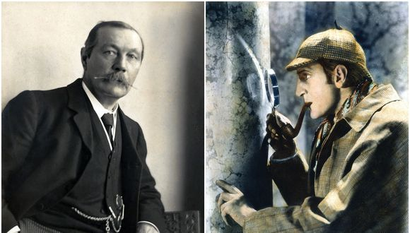 Arthur Conan Doyle (izq.), el creador de Sherlock Holmes fue también un poderoso proponente del espiritismo. (Foto: Walter Benington/Dominio Público) El actor Basil Rathbone (der.) en el papel del famoso detective. (Foto: 20th Century Fox)