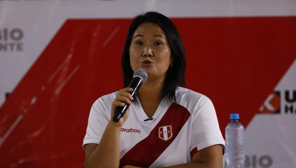 """En otro momento,  la candidata presidencial consideró que las declaraciones del virtual congresista Guillermo Bermejo en un audio difundido este lunes """"demuestran claramente"""" lo que el partido Perú Libre """"tiene planeado"""" de llegar al Gobierno. (Foto: El Comercio)"""