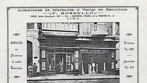La primera tienda se ubicó en el Jirón de la Unión. (Archivo Familiar Rosselló).