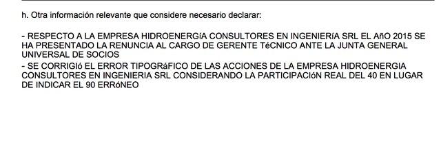 Precisión en la declaración jurada de intereses de Jorge Alva Hurtado.