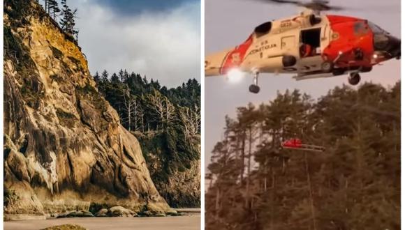 El excursionista Gil Tighe fue muy afortunado al sobrevivir a una caída de más de 30 metros. (Foto: Captura KGW News)