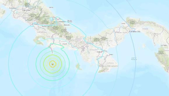 El Servicio Geológico de Estados Unidos informó que un sismo de magnitud 6,8 se ha registrado en la costa occidental de Panamá. (Foto: USGS)